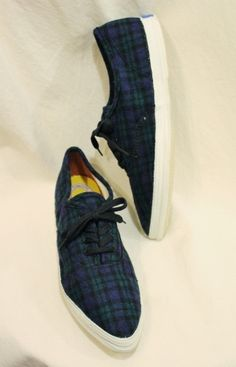 DEAD STOCK 60'S~ US KEDS POINTED TOE BLACK WATCH CHECK WOOL SNEAKER (GRN/NVY/BLK) - PATINAS VINTAGE CLOSET