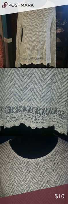 Wet seal sweater with lace This sweater is in very good condition. Lightweight Wet Seal Sweaters