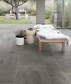 Thermal Blue Bluestone Porcelain Pavers - Patio Installation 10 reasons to check out our new bluestone porcelain pavers for your next project. Now available in Thermal Blue Bluestone or Natural Cleft Varigated. Ceramica Exterior, Exterior Tiles, Sandstone Pavers, Bluestone Pavers, Outdoor Pavers, Outdoor Tiles, Pavers Patio, Patio Stone, Walkway