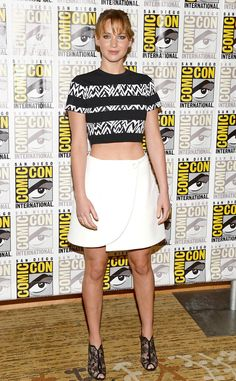 Jennifer Lawrence sports a Proenza Schouler crop top and asymmetrical skirt combo at a press event for The Hunger Games: Catching Fire at Comic-Con in San Diego, Calif.