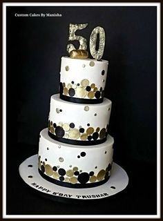 Black And Gold Birthday Cake 2 Tier Cakes 13th