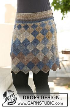 "Ravelry: 121-5 Skirt with Domino squares in ""Delight"" by DROPS design - free pattern (knitting this for my teen granddaughter)"