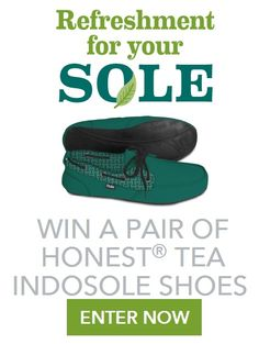 Honest Tea Indosole 2014 Instant WIN Game WIN apair of Honest Tea-branded IndosoleShoes–RV$55 Enter DAILY-Ends 10/17