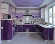 Interior inspiration for a purple, violet, lavender kitchen color scheme with crisp white accents Purple Kitchen Designs, Colorful Kitchen Decor, Home Decor Kitchen, Kitchen Colors, Kitchen Interior, Purple Kitchen Cabinets, Kitchen Cabinets Color Combination, Lavender Kitchen, Small Attic Bathroom