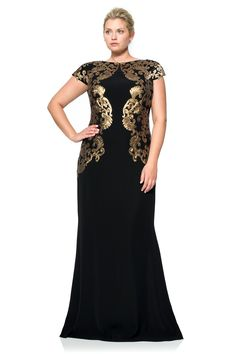 Crepe Draped Open Back Gown with Metallic Paillette Detail - PLUS SIZE | Tadashi Shoji
