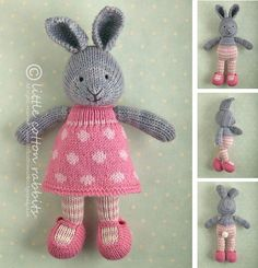 This listing is for an extensive PDF file which contains full instructions for knitting and finishing off a little cotton rabbit girl in a dotty dress. The file is 14 pages long and contains over 50 detailed step-by-step photographs along with full pattern instructions and tips for stuffing, seaming and finishing neatly.The pattern is written for knitting flat on two needles and all pieces are seamed afterwards. Please note that this project is not a quick or simple knit. I t takes me…