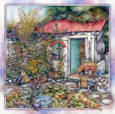 Kim Jacobs Cobblestone Way Wall Calendar: Enter the world of Kim Jacobs, the fresh country charm of her images?combined with adorable cats and kittens? Cottage Art, Cottage Ideas, 2d Art, Cute Illustration, Paintings For Sale, Beautiful Paintings, Pretty Pictures, Folk Art, Garden Art