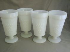 Vintage #MilkGlass Footed Water Glasses Goblets Grapes on large leaf Lot of 4