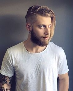 mens medium hairstyle with shaved side