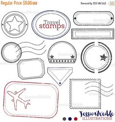 SALE Travel Stamps Cute Digital Clipart, Digital Stamp Clip art, Passport Stamp Graphic, Overlay Travel Clip art, Mail Delivery Stamp, Outli