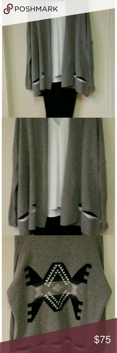 Wool & Cashmere Cardigan by The Lane NWT Wool and cashmere blend:   40% wool    30% viscose    20% Polyamide    10% cashmere  Beautiful combination of gray, black and white in a tribal design. Made with imported Italian wool. Brand new, with tag  Slacks and blouse listed separately The Lane Sweaters Cardigans