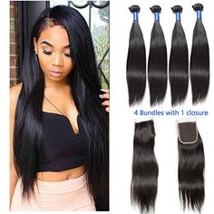 VIPbeauty Brazilian Virgin Straight Hair 4 Bundle Deals With Free Part ClosureNatural Black 100 Unprocessed Human Hair 95100gpc20 22 24 26 with 16 *** Check this awesome product by going to the link at the image-affiliate link. #BeautySalonEquipment