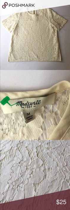 Madewell Cream Lacey Top, M This Madewell Cream Lacey Top, M is perfect for a light, summery work environment. In excellent condition, no defects and comes from a smoke/pet free environment. Madewell Tops Tees - Short Sleeve