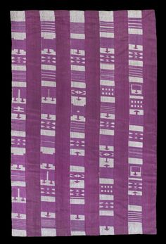 """C19th strip woven aso oke shawl, iborun. Very rare nineteenth century Yoruba cloth that alternates paired strips of magenta silk supplementary weft float motifs on a check blue and white cotton ground, with strips of solid magenta silk """"alaari."""" Note the many variations on the arrow-head topped Koran writing board motif. Private collection."""