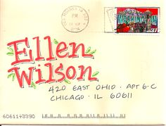 Cute lettering! pushing the envelopes: EBW apple