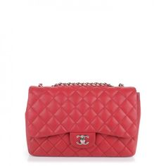 This is an authentic CHANEL Lambskin Quilted Jumbo Single Flap in Red. This  is a stylish and popular classic Chanel shoulder bag with all of the  hallmarks ... b73cbe6045