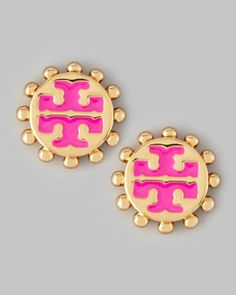 Need!  Y1NM4 Tory Burch Winslow Enamel T-Logo Stud Earrings, Pink