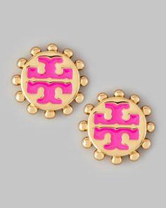 Need!  Y1NM4 Tory Burch Winslow Enamel T-Logo Stud Earrings, Pink