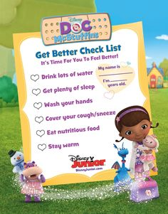 Is your little one feeling under the weather? Here's a checklist for getting better! #DocMcStuffins #DisneyJunior
