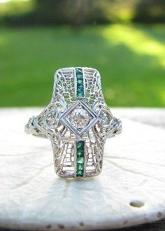 VINTAGE DIAMOND EMERALD RING, $728, FRANZISKA, ETSY.COM