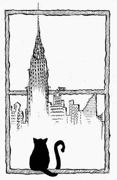 A drawing by Matteo Pericoli featuring the Chrysler Building and a black cat. Crazy Cat Lady, Crazy Cats, I Love Cats, Cool Cats, Black Cat Art, Black Cats, City Drawing, Cat Signs, Cat Posters