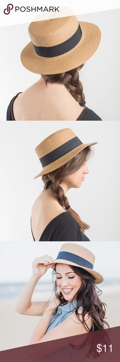 Straw Flat Top Boater Hat Pop this flat top woven hat on to elevate any outfit to a new level of easy style. Accessories Hats