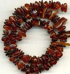 Baltic Amber Beads~Cognac Dark Orange Free-form Rondells 8-16mm GENUINE