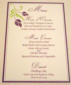 Floral design menu cards