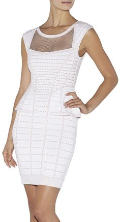 'Hindi' Cage Plated Pointelle Dress-White