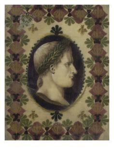 Napoléon couronné de lauriers : petit portrait de Napoléon en buste dans un ovale fond bleu Giclee Print