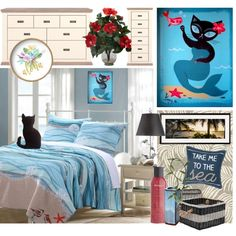 Meowii *** bedroom moodboard inspired by the cat mermaid painting *** created on Polyvore