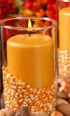 Dried corn in a container with a candle. Instant harvest decor.
