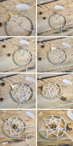 DIY, trucs et astuces pour fabriquer, créer, faire des boucles d'oreilles dreamcatcher attrapeur de rêveur pendantes amérindiennes.