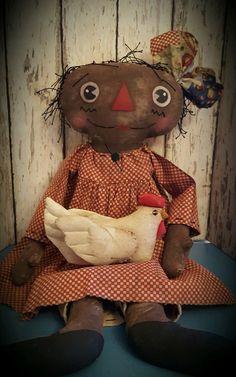 Primitive Black Raggedy Ann Doll w/ Chicken ~*~Annie~*~