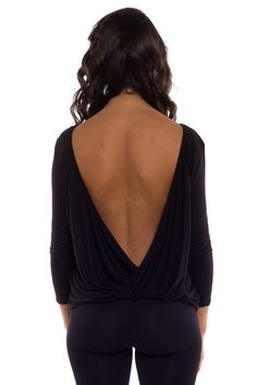 Turn Around Draping Twist Open Back Jersey Top - Black