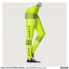 Class of 2018 Yellow Green Band Leggings by Janz