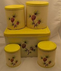 Decoware Pine Cone Canister Set and Bread Box Mid Century Retro Vintage Kitchen
