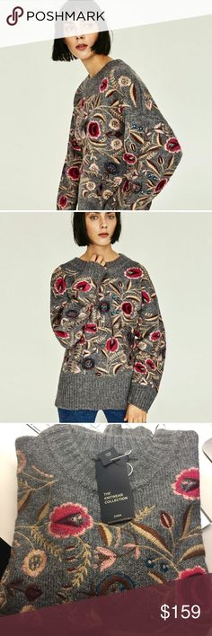 🆕 Zara Floral Oversized Embroidered Sweater New with tags, sold out in stores🙌🏻 Zara Sweaters