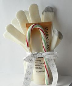 Mary Kay's Satin Hands gift set. Set comes with a pair of warm and fuzzy gloves (several color options) and a candy cane! $13.  Satin Hands scents available: fragrance free, vanilla sugar, and peach.  To order: www.marykay.com/nicolesarver.  You can order the Satin Hands lotion by itself or leave me a note with your order requesting this lovely gift set :)