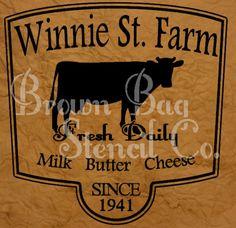 Winnie St. Farm Stencil  12x12  mylar stencil by BrownBagStencilCo