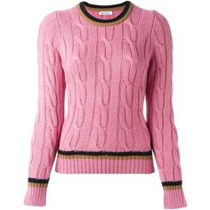 Dondup contrast stripe jumper (26785 RSD) ❤ liked on Polyvore featuring tops, sweaters, pink, print top, print sweater, jumper top, pink jumper and stripe top