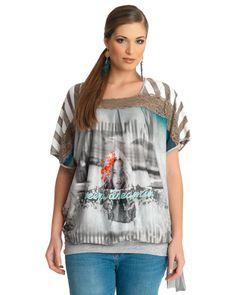 Μπλούζα με ρίγες και feminine τύπωμα — mat. XXL sizes