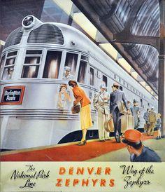 The Burlington Route Denver Zephyr - Chicago, Burlington & Quincy Railroad (CB&Q) - Vintage Rail Poster - c.1940