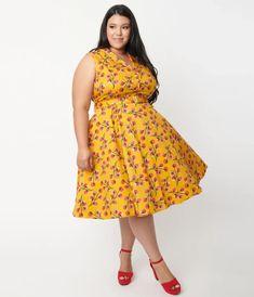 Plus Size Mustard & Cherry Tomato Print Jani Swing Dress