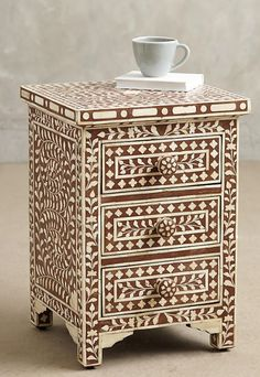"17""W x 16D x 24H Bone Inlay Nightstand"
