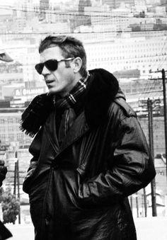 Steve McQueen on the set of Bullitt, 1968.