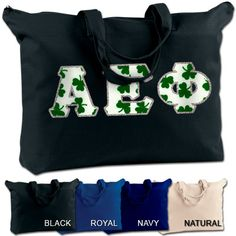 Alpha Epsilon Phi shoulder bag with your 4 inch Greek letters sewn on the front