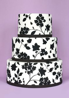Silhoutte Flowers Black and White Cake