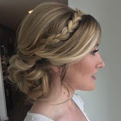 Curly Updo With A Headband Braid