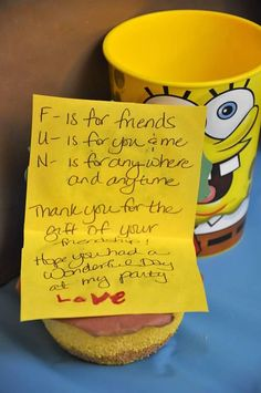 Sponge Bob Thank note and favor for birthday party - ] The Pink Peach #spongebob